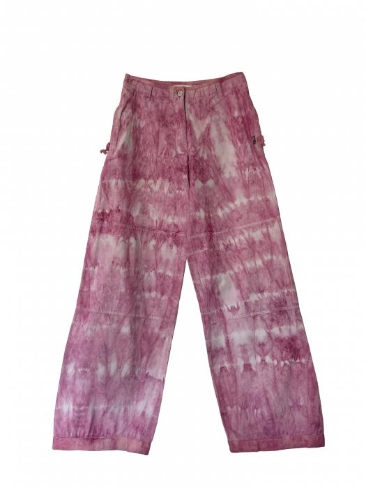 Pantalon large tie and dye rose