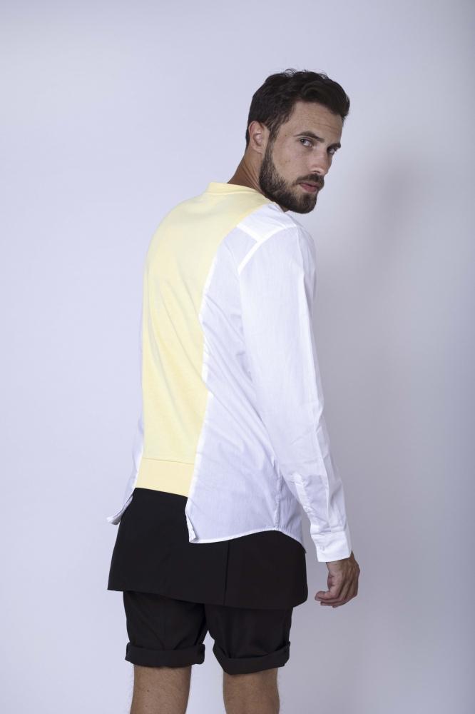 Sweat chemise bicolor jaune
