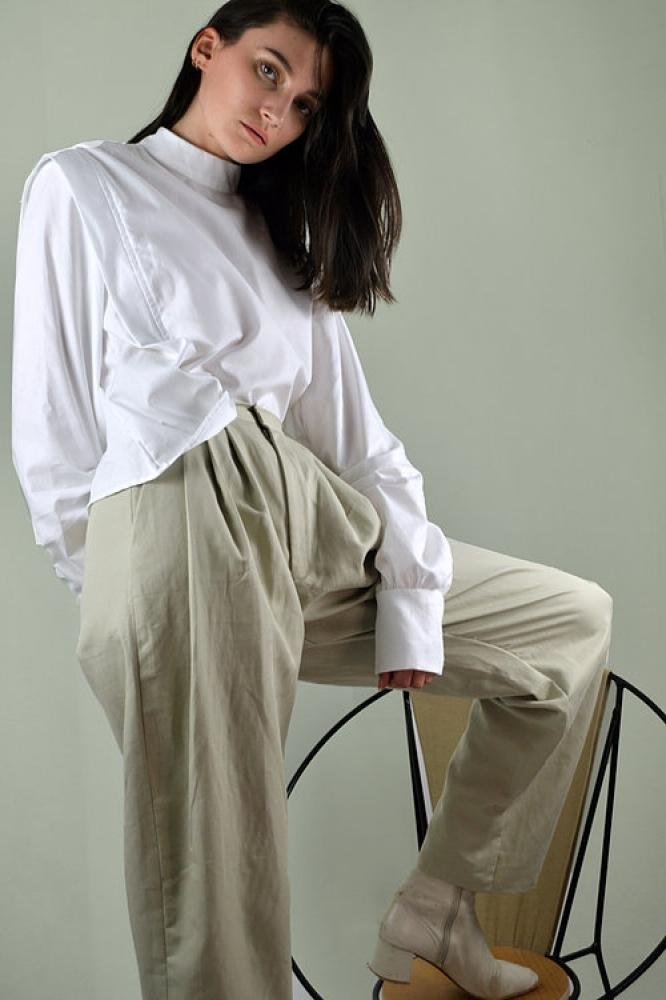 Chemise géométrique en coton blanc