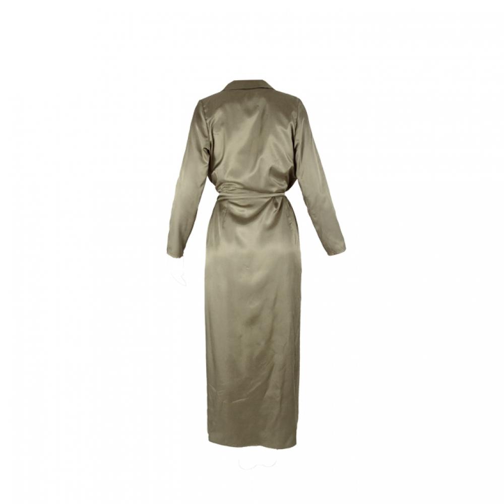 Robe longue cache-cœur à manches longues