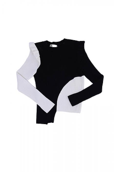 Top en en maille à manches longues bicolor (noir/blanc)