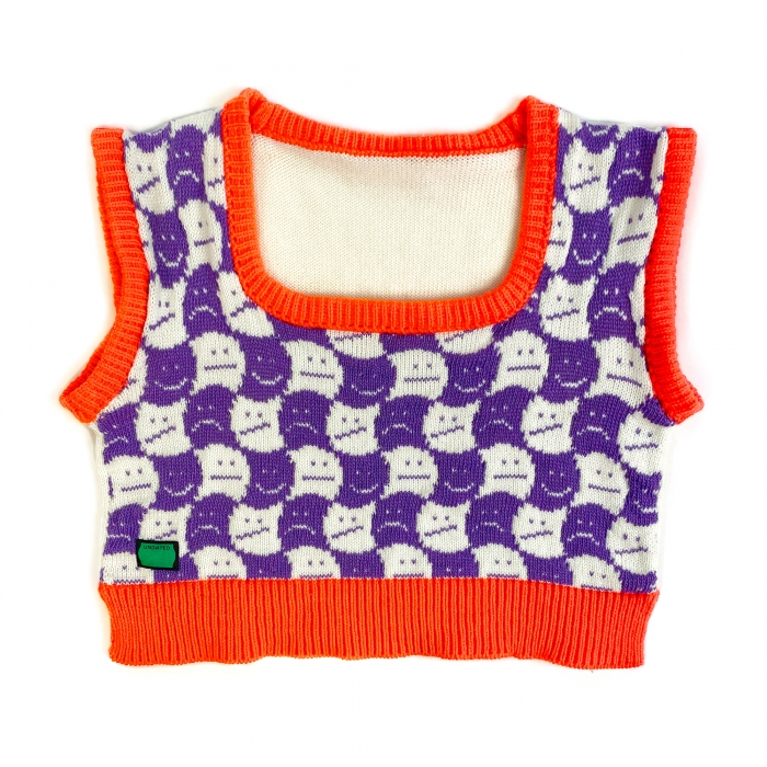 Pull sans manche col carré, jacquard smiley orange et violet