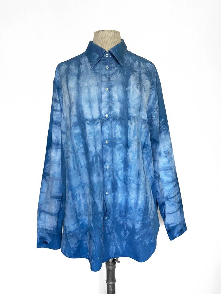 Chemise à manches longues tie and dye bleu