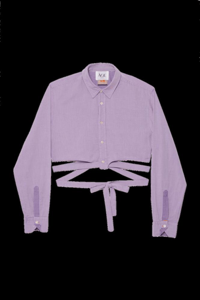 "Crop chemise upcyclée  \""La Lilas\"""