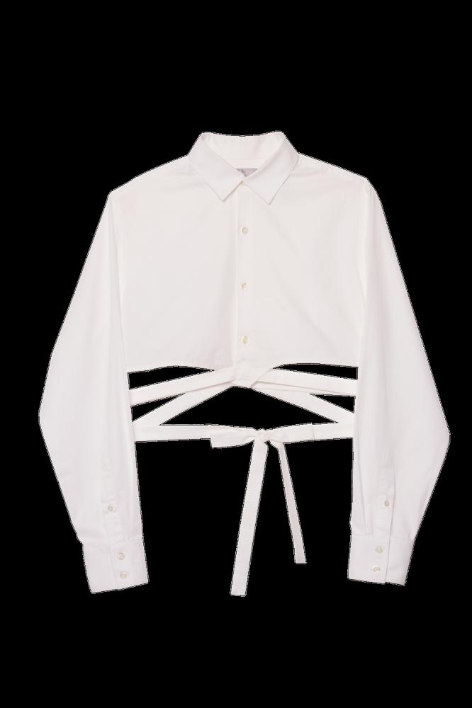 """Crop chemise upcyclée  \""""La Chris\"""""""