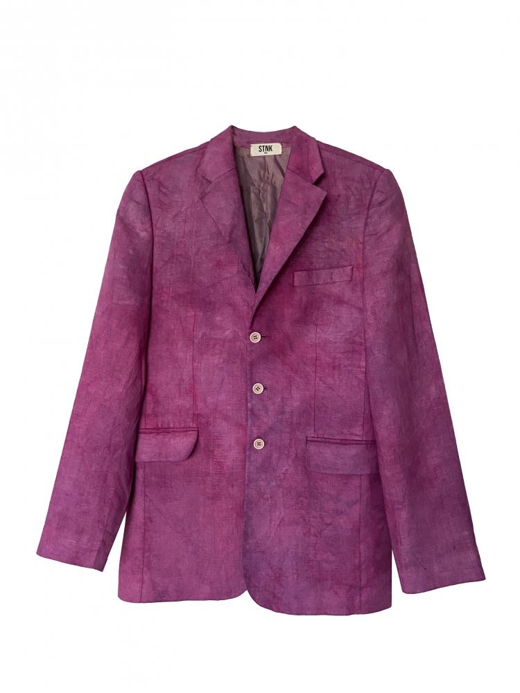 Veste blazer en lin tie and dye rose