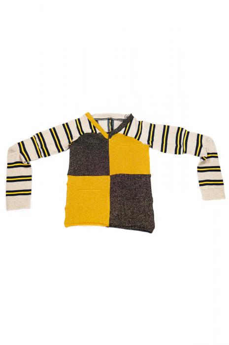 pull col V à manches longues patchwork rayé jaune et noir