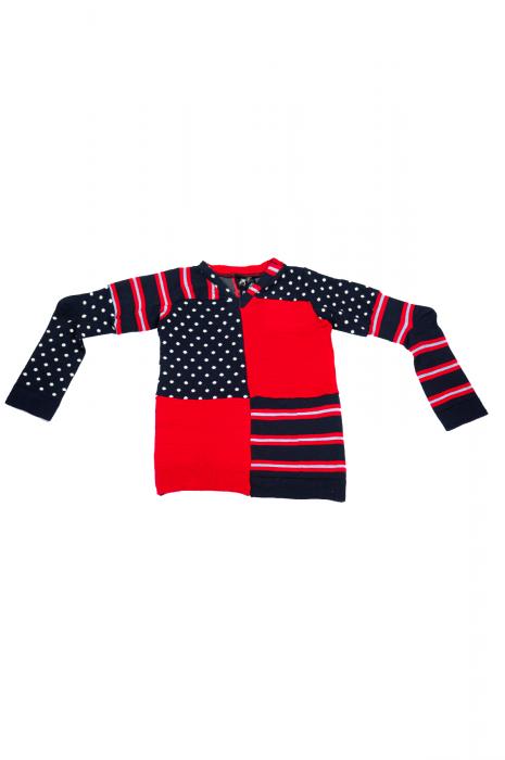 Pull col V à manches longues patchwork bicolore marine et rouge