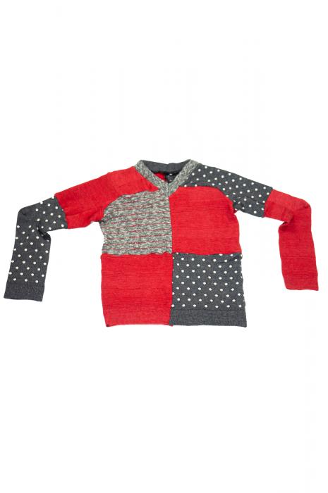 pull col V à manches longues patchwork rouge et gris