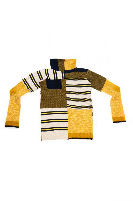 Pul col roulé et manches longues patchwork jaune