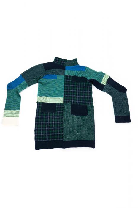 Pull col roulé à manches longues patchwork vert