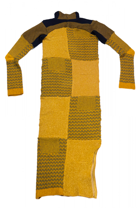 Robe moulante patchwork jaune