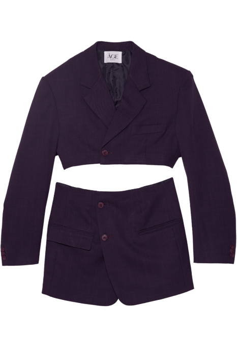 Tailleur jupe upcyclé violet