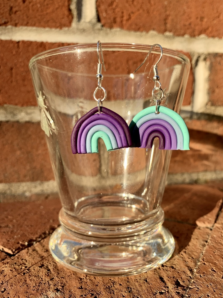 purple & teal gradient mis-matched dangly earrings set (small)