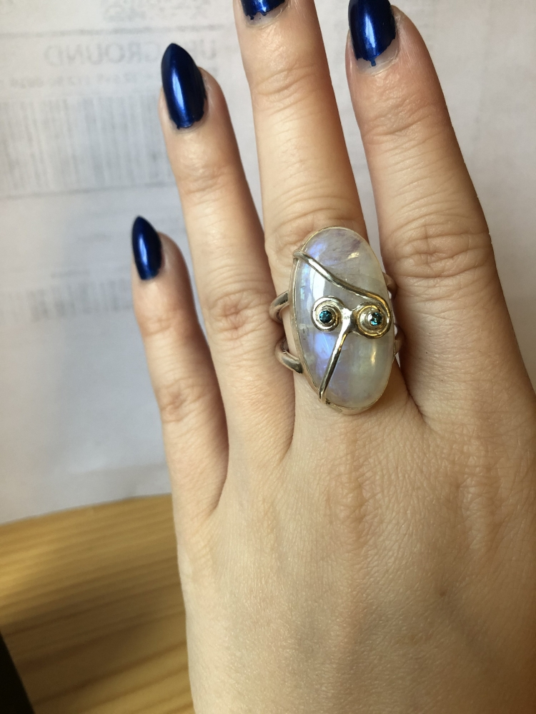 Yue's Memory - Moonstone Ring - Blue Diamond - Yue - Avatar the Last Airbender Theme - Sterling Silver - Handcrafted - US Size 7.5