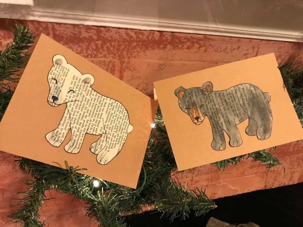 Beary Special: Black bear holiday card / handmade / vintage book / hand-illustrated