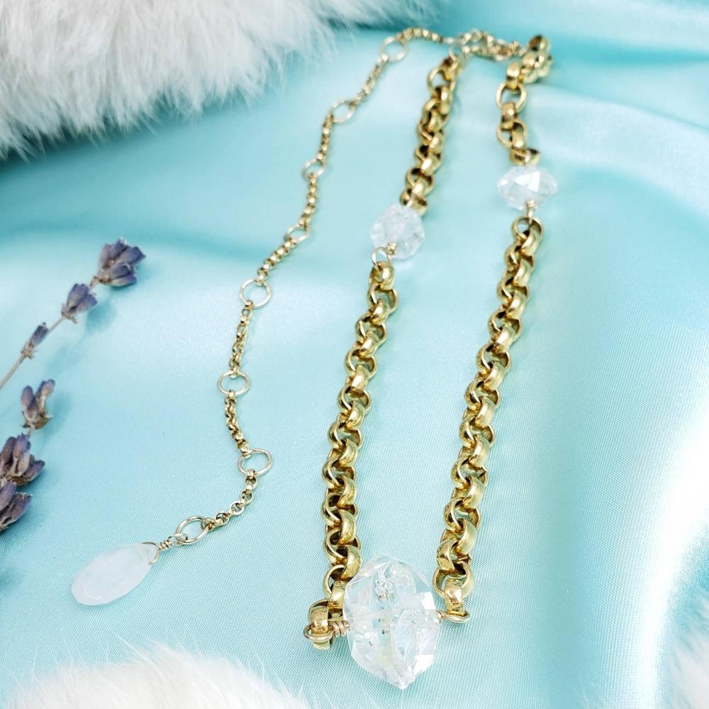 Herkimer Diamond Chain Choker with Moonstone Drop