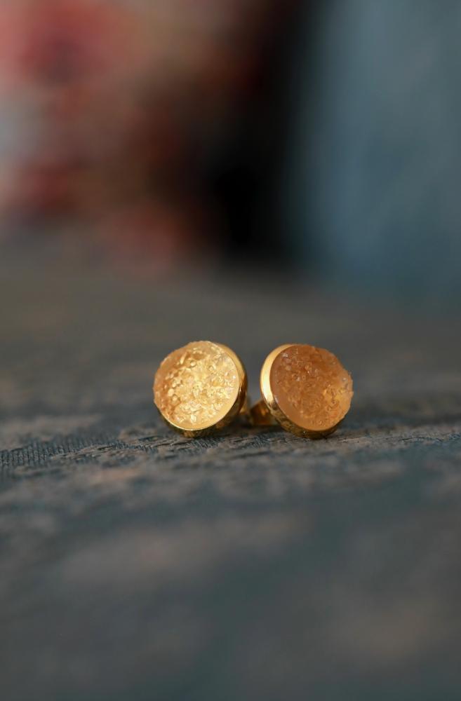 Gold Druzy Resin Studs