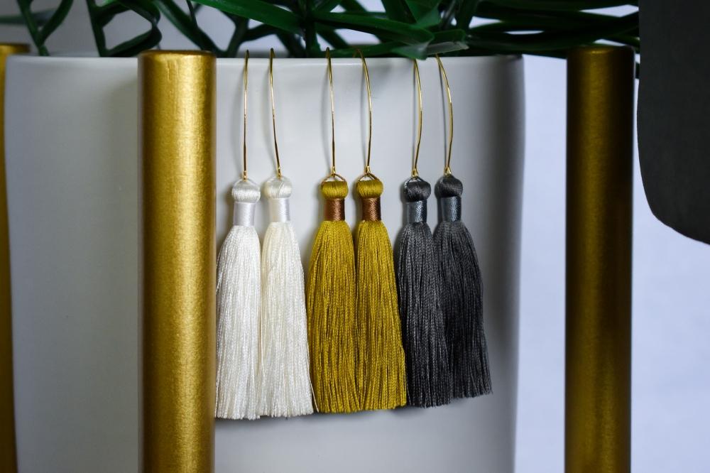 Anthracite Silk Tassel Drop Earrings