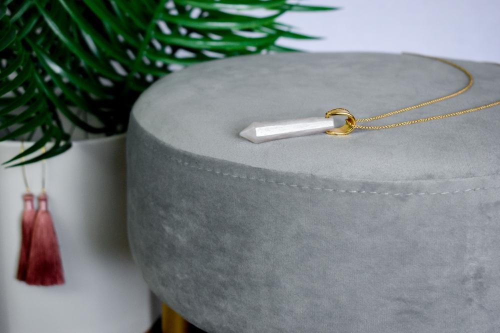 Rose Quartz Gemstone Faceted Focal Necklace