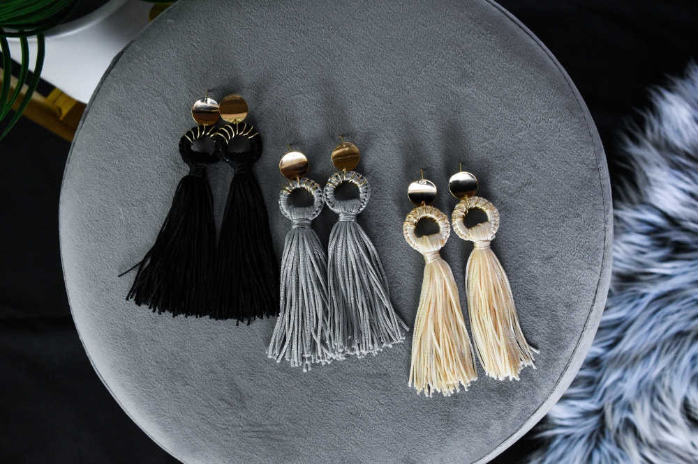 Anthracite Braided Tassel Drop Earrings