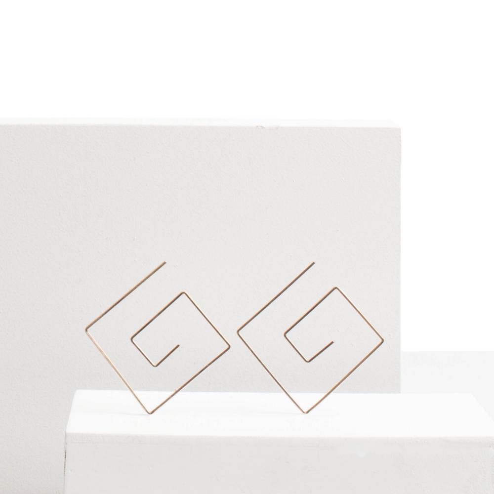 Hannah Greek Key Gold-Fill Threader Earrings