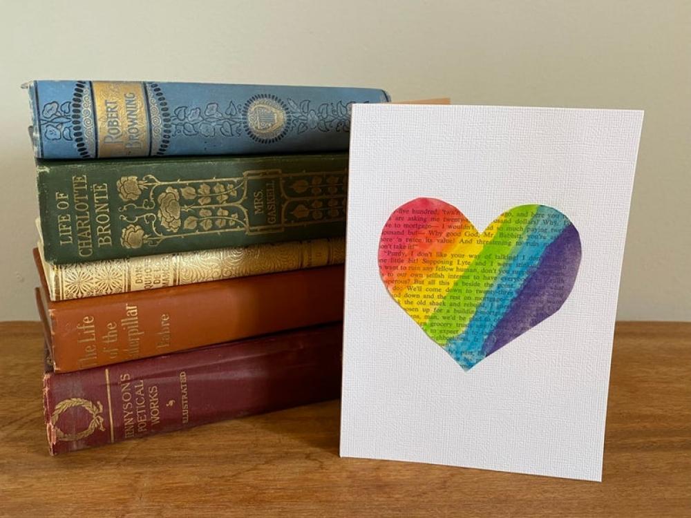 Rainbow Heart card for Valentine's Day / LGBT, LGBTQ+ pride / love / romance / anniversary / vintage book / valentine