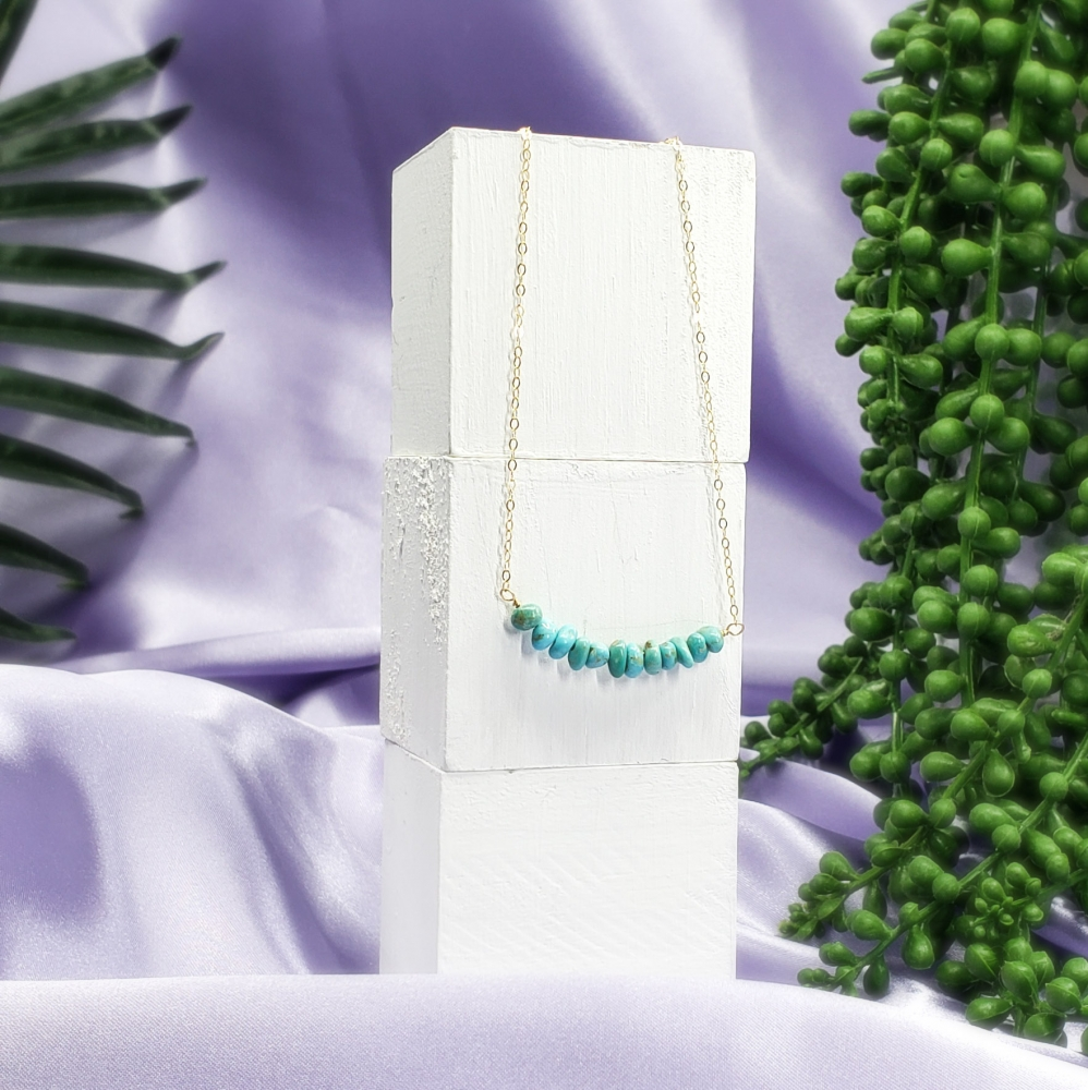 Turquoise bar on Gold-filled chain