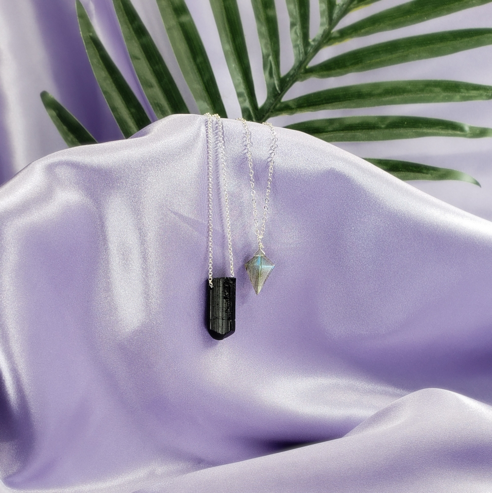 Black Tourmaline on Sterling Silver Chain