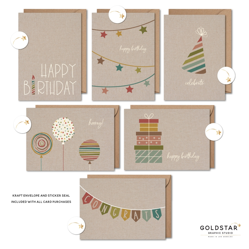 5 x 7 Greeting Cards - 6 Pack - Rustic Modern Birthday Celebration - GC001016 - Handmade in Los Angeles, CA - Blank Happy Birthday Cards