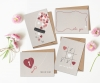5x7 Greeting Cards - 4 Pack - Rustic Modern Valentine's Day Cards - GC001019 - Handmade in Los Angeles, CA - Blank Greeting Cards