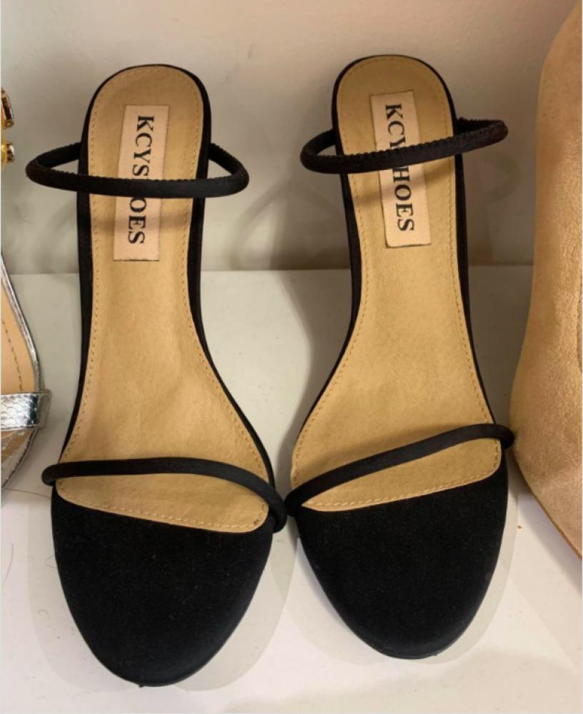 Chaussures sandales femme talon haut noir à lanières mules