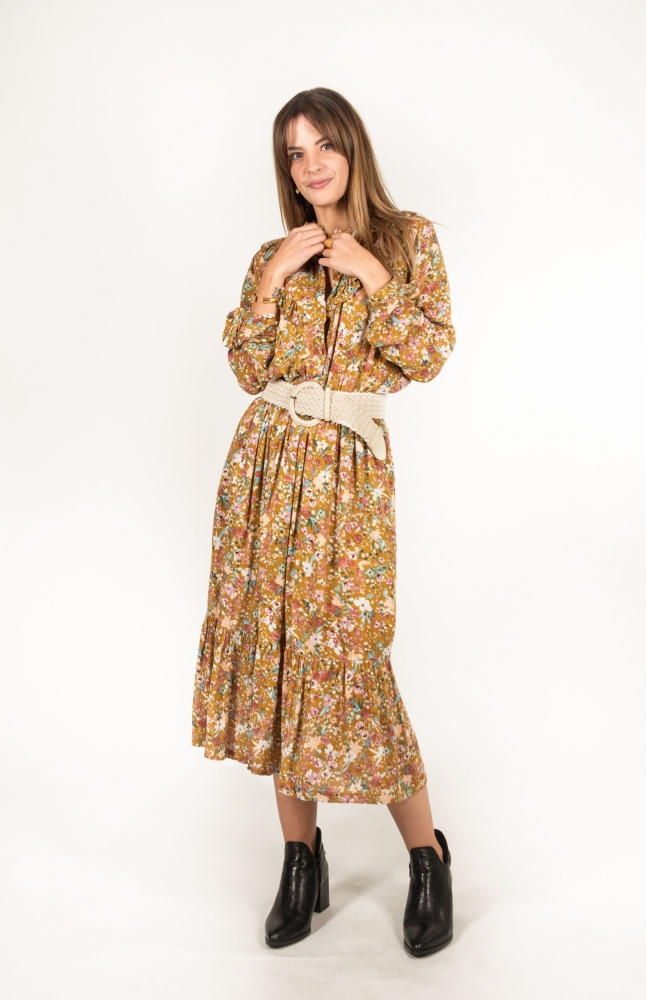 Robe Nessia couleur moutarde