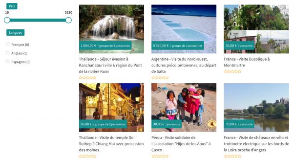 Exemple de recherche avec filtres marketplace