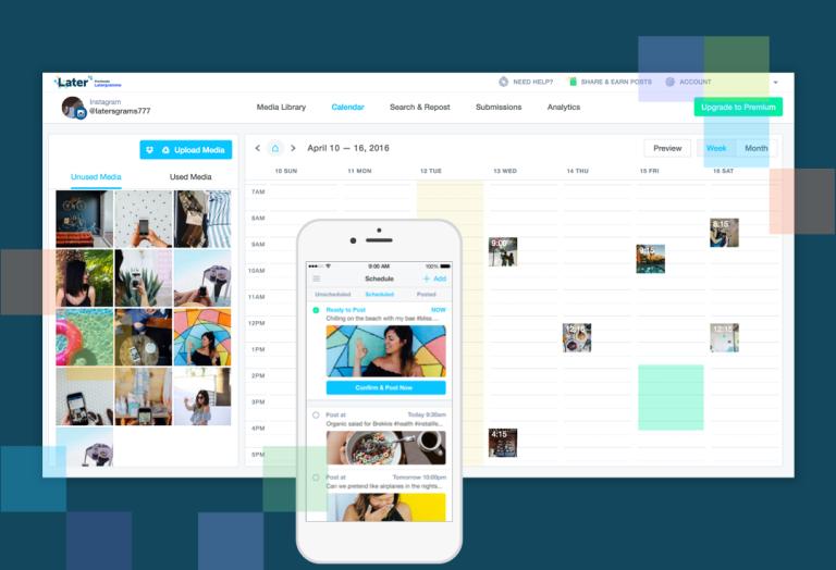 Later, application, programmation de contenu instagram, stratégie marketing, réseaux sociaux
