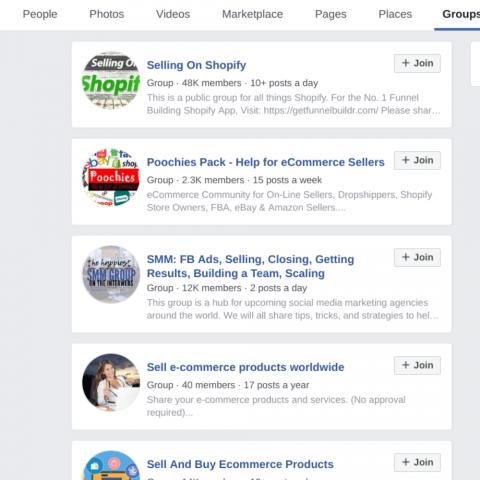 Facebook groups marketplace marketing