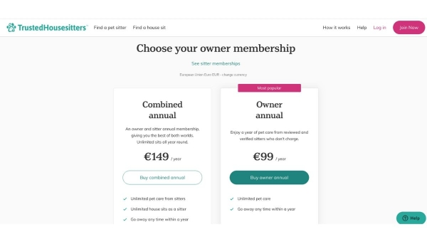 Trusted Housesitters p2p marketplace